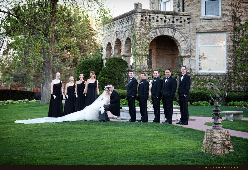 black-bridesmaid-dresses-gloves-lawn-group-photo