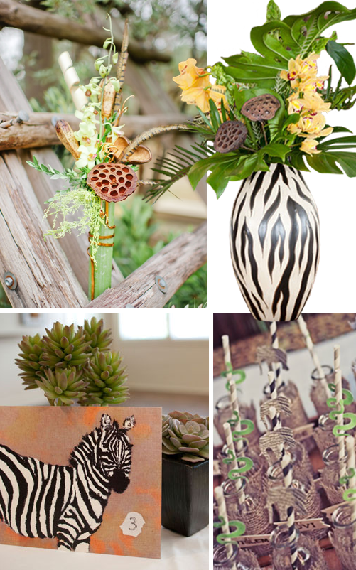 2-we-bought-a-zoo-safari-wedding-inspiration-decor-theme-movie-theme-bouquet-zebra-vase-zebra-table-setting-succulents-snake-straws