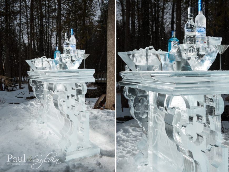 wedding ice bar by ice culture for winter wedding in Muskoka